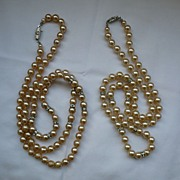 SALE SALE!!Nice Vintage 2 Strings Faux Pearls With Rhinestone Rondelles