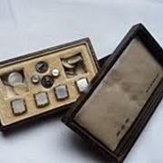 Vintage 14ct Gold & Silver & MOP Boxed Dress Set Cufflinks