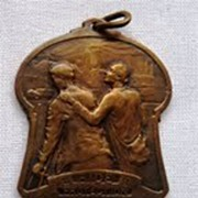 Vintage French Bronze Pendant for Travelers