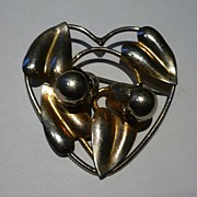Vintage McClelland Barclay Sterling & Vermeil Heart Shape Brooch