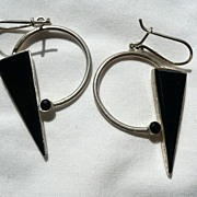 SALE! Modernist Sterling Silver & Onyx Earrings
