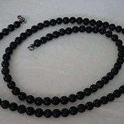 Vintage String Of Highly Polished Black Onyx Beads