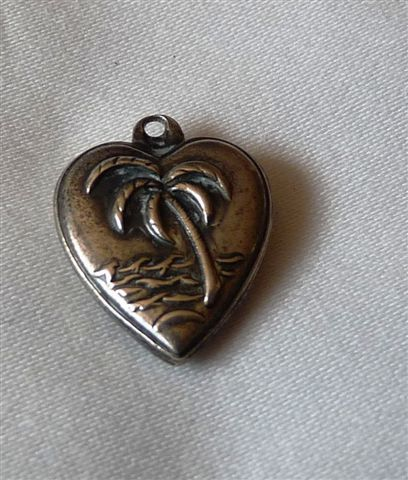 Vintage Sterling Silver Palm Tree Heart Charm
