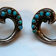 SALE! Early Silver & Turquoise Mexican Earrings