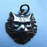 Edwardian Sterling Cat Face with Green Eyes