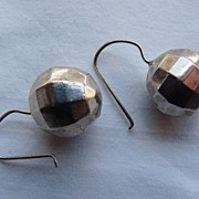 Victorian Sterling Faceted Ball  Earrings