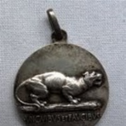 Vintage Silver Plated Pendent of a Tiger Front & Ship Back