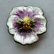 SALE! Exquisite Antique Victorian Sterling Silver Enamel Pansy Brooch
