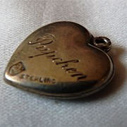 "Vintage Sterling Walter Lampl Charm with ""Pupchen"" on Back"