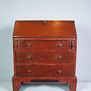 Early 19th Century Mahogany Doll Size Slant Front Desk - Salesman's Sample