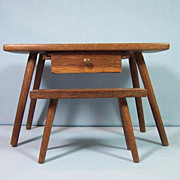 Early Walnut Doll's Work Table & Bench