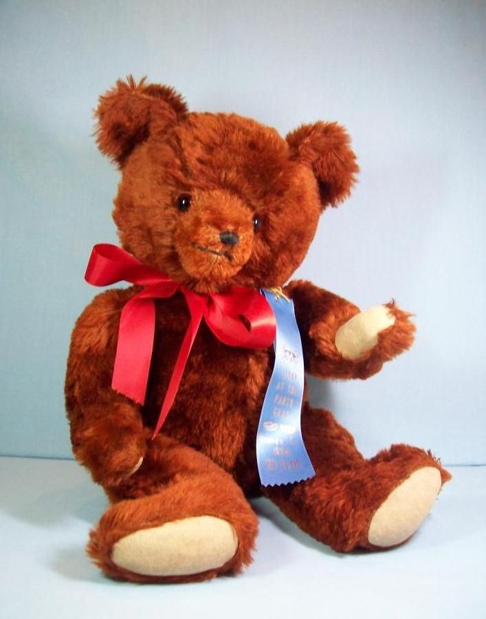 1950's Vintage Cinnamon Mohair Teddy Bear - 1st Place Blue Ribbon Winner