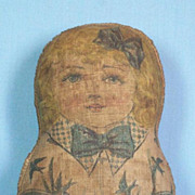 Great Little Antique Printed Cloth Doll