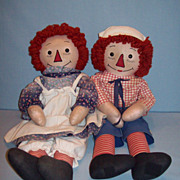 Wonderful Pair of Homemade Raggedy Ann & Andy Dolls