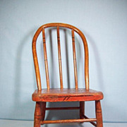 Early Wooden Hoop-Back Doll's Chair