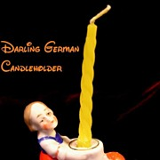 1920's German Girl Porcelain Figural Candleholder for Cake