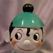 Adorable Art Deco German Googly Eye PIERROT Jam Jar