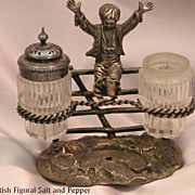 Victorian Figural Silverplate Condiment Set with Boy on Fence