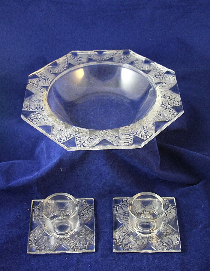 Art Deco LALIQUE CHANTILLY Console Bowl and Candle Holders 1942