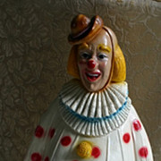 Best Ever! HUGE! Vintage Chalkware CIRCUS CLOWN Bank