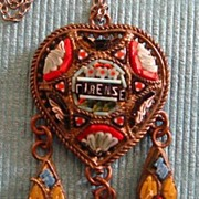 Wonderful Vintage Italian Micro Mosaic Heart Pendant with Dangles