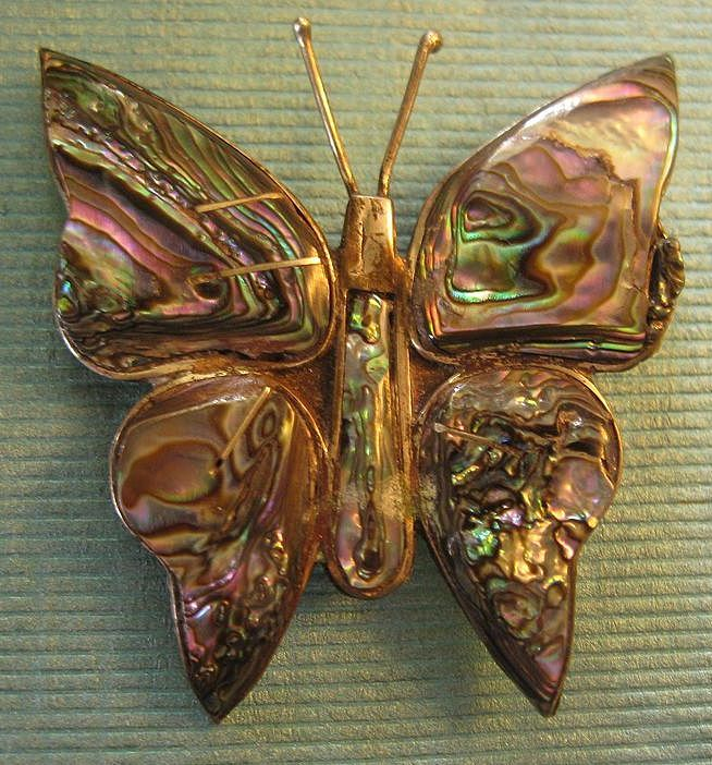 Gorgeous Vintage Signed Sterling Silver and Abalone Shell  Butterfly Brooch or Pin
