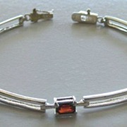 Lovely and Elegant Prong Set Faux Garnet and Sterling Silver Link Bracelet