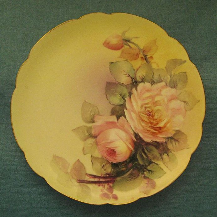 Beautiful Vintage Haviland Porcelain Signed Handpainted Scalloped Plated