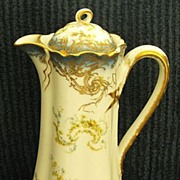 Beautiful Antique Haviland Hand Painted Limoges Porcelain Chocolate Pot