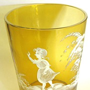 Wonderful Vintage Mary Gregory Golden Yellow Large Glass Vase