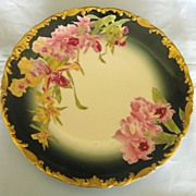 Stunning Antique Limoges Tresseman and Vogt (T&V) Hand Painted Orchids Porcelain Plate