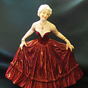 Beautiful Vintage Hand Painted Signed Porcelain Graceful Lady Figurine