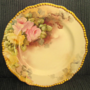 Beautiful Circa 1900 Delinieres & Cie (D&C) Large Limoges Scalloped Hand Painted Roses Porcela