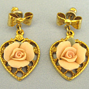Adorable Vintage Porcelain Rose on Heart Dangle Pierced Earrings