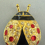 Glittering Rhinestone Enamel Lady Bug Pin