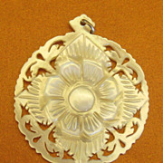 Lovely Vintage Large Carved Mother of Pearl Flower Pendant