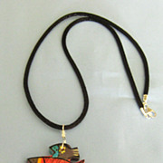 Colorful Large Vintage Signed Laurel Burch Wooden Fish Pendant/Necklace