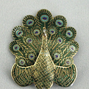 Lovely Vintage Sterling Silver Blue and Green Enamel Peacock Brooch- Siam