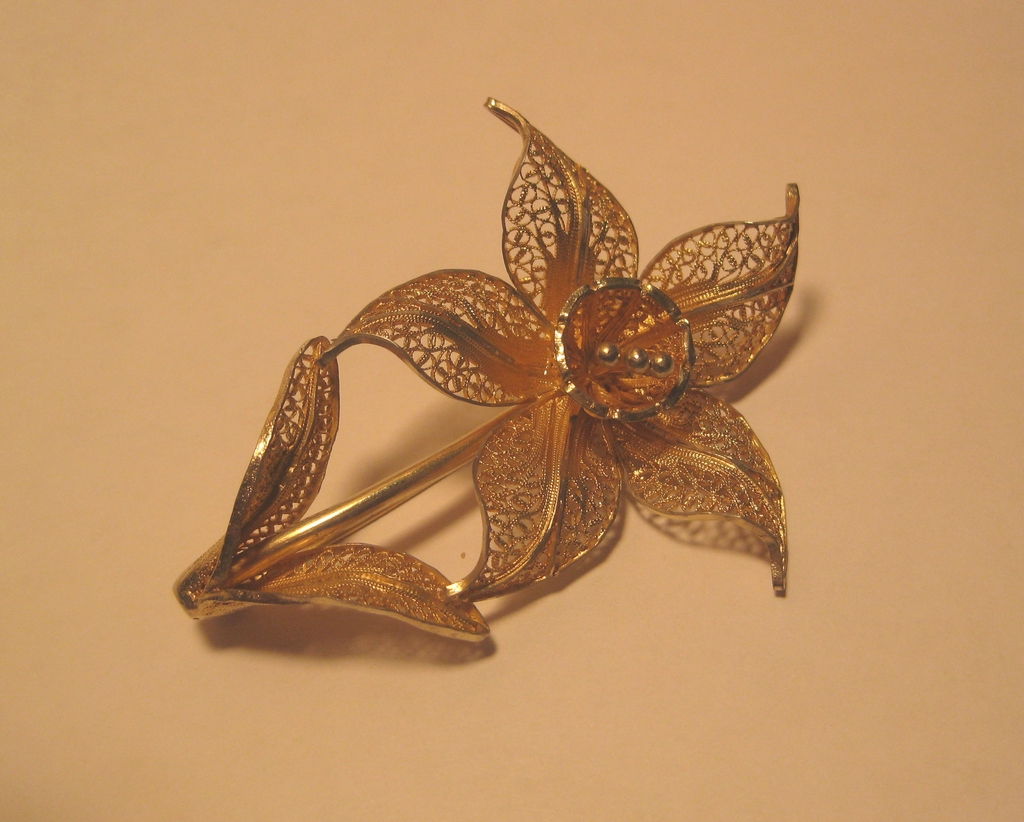 Vintage Filigree Flower Brooch, Soft Goldtone