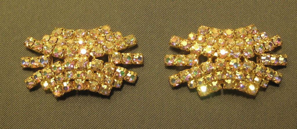 Vintage Rhinestone Aurora Borealis Shoe Clips