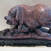 Old Chinese Soapstone Figure, Sow With Piglets, on Hand Carved Stand