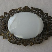 Lovely Vintage Ornate Filigree Hair Ornament With Large Cabochon