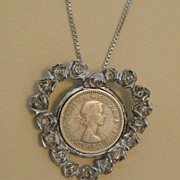 Vintage English Coin Flowered Heart Pendant on Sterling Chain