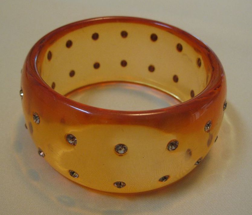 Vintage Heavy Lucite and Rhinestone Bangle Bracelet - Bold and Dramatic