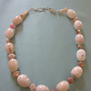 Pink Mineral Gemstone and Sterling Silver Necklace