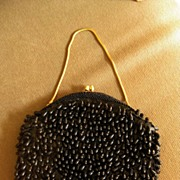 Vintage Black Beaded Handbag by Sharonee, Hong Kong