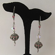 Heavenly Pink Crystal and Rhinestone Dangle Pierced Earrings