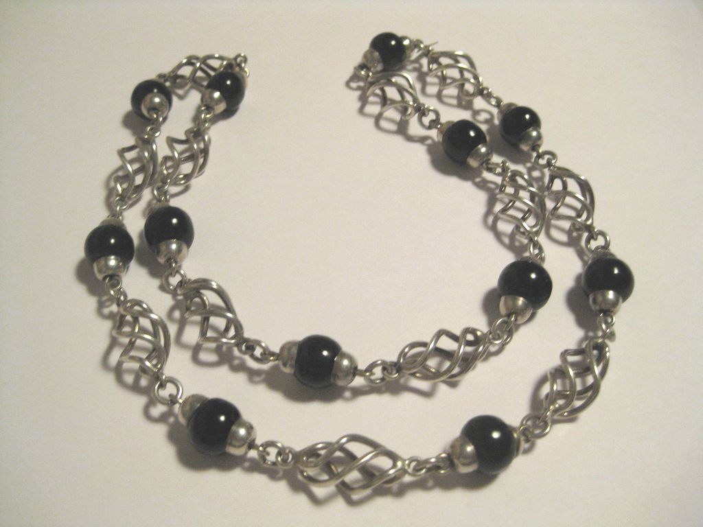 "CLEARANCE!  Stunning Sterling and Onyx Chunky 28"" Necklace - 86 Grams!!"