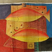 Original Painting of Fish, Oils on Canvas, Signed Ajik (Sanyan Ubud)