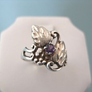 Lovely Vintage Sterling Grapes and Leaves Ring With Amethyst Stone, Size 4